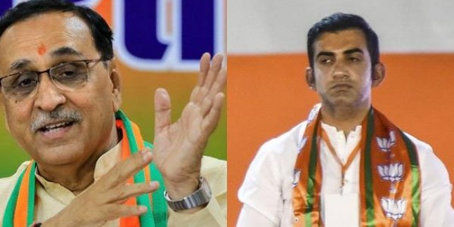 Gujarat CM Vijay Rupani addresses poll meeting in Delhi, seeks support for Gautam Gambhir