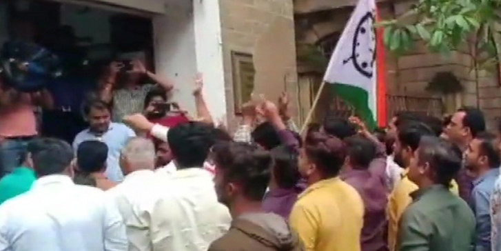 NCP Youth Wing Workers Protest at ED Office Over Money Laundering Case Against Sharad Pawar