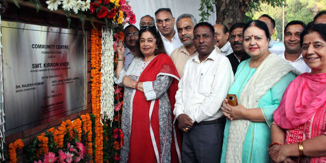 Kirron Kher lays stone of two modern community centres