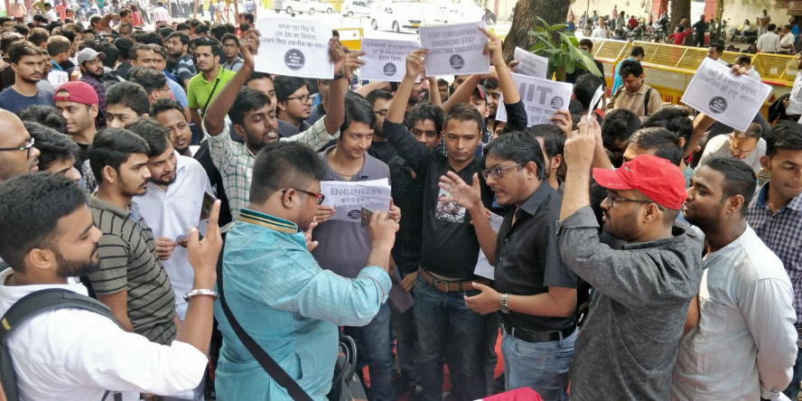 M.Tech Students protest against Fee Hike in IIT