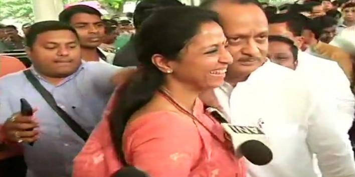 सुप्रिया सुले ने अजित पवार को गर्मजोशी के साथ दी बधाई
