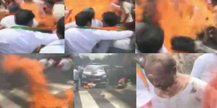BJP leaders injured while burning effigy in Warangal
