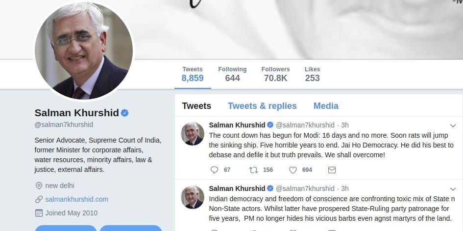 सलमान खुर्शीद का ट्वीट- मोदी के सिर्फ 16 दिन बचे, जल्द डूबते जहाज से कूदेंगे चूहे