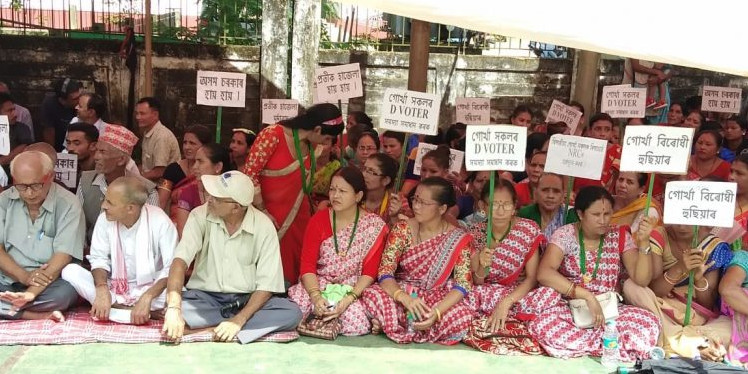 People belonging to Gorkha community stage a protest against NRC