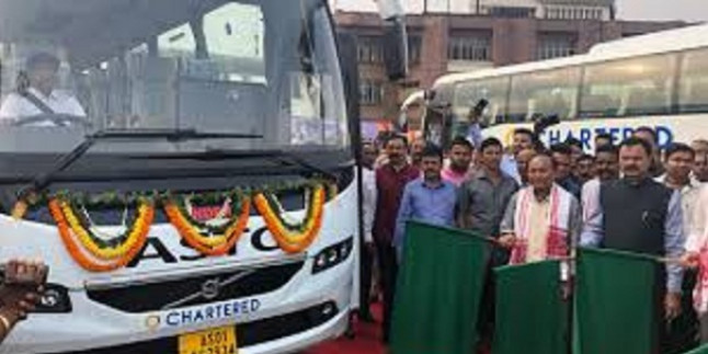 Assam Transport Minister flags off 6 Volvo buses in Guwahati