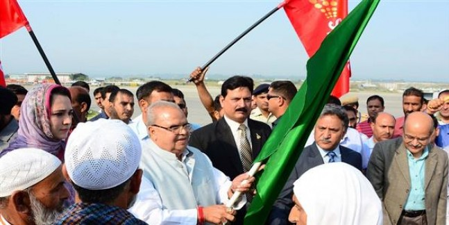 Governor flags off first flight of Hajis from Srinagar Airport