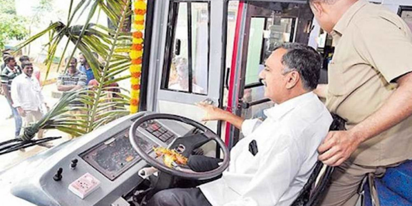 MLA Gandra Venkataramana Reddy turns as RTC bus driver