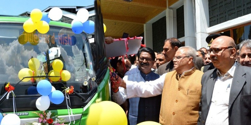 Governor, union minister flag off electric buses in Srinagar