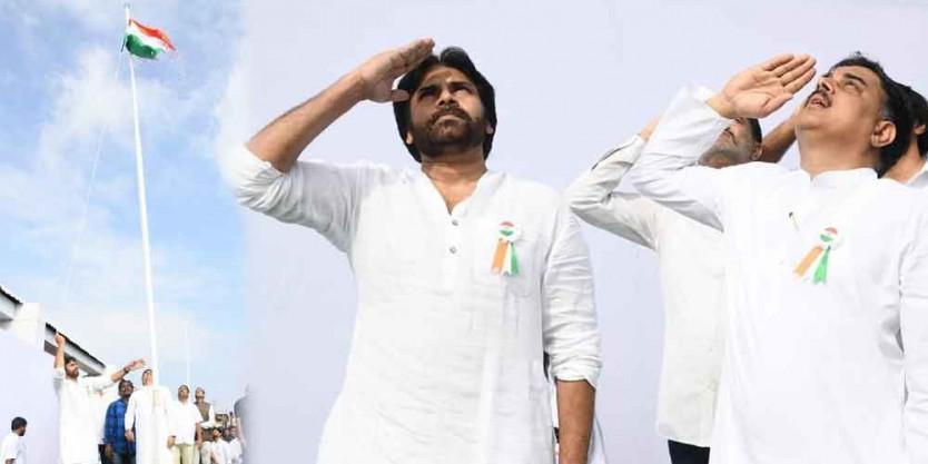 Pawan Kalyan hoisted national flag at JSP office