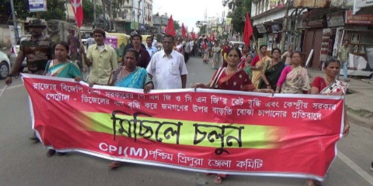 CPI-M protests abrupt hike in CNG & PNG prices under BJP-IPFT rule