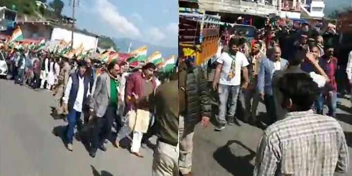हिमाचल उपचुनाव: राजगढ़ में कांग्रेस का लोकतंत्र बचाओ मार्च