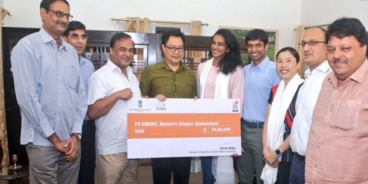 Kiren Rijiju rewards world champion PV Sindhu with Rs 10 lakh