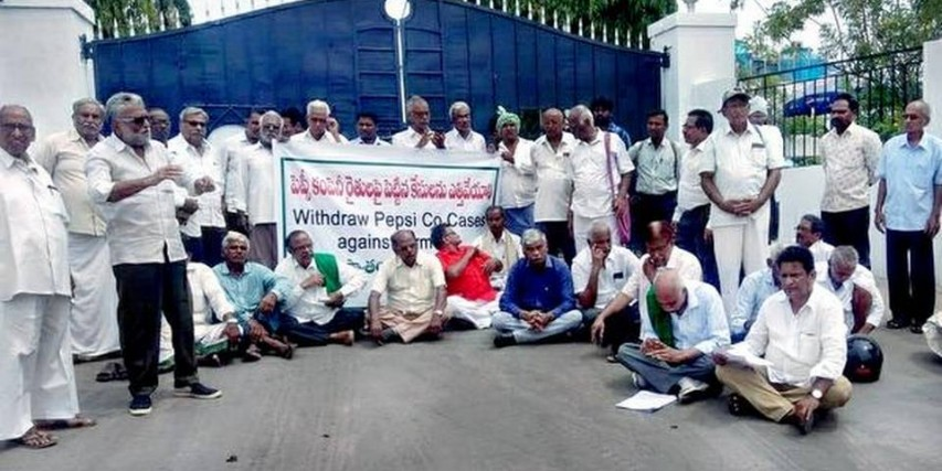 Farmers hold protest in front of PepsiCo plant in Guntur