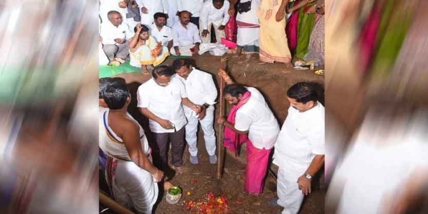 Srinivas goud launches ground breaking ceremony for TRS party office