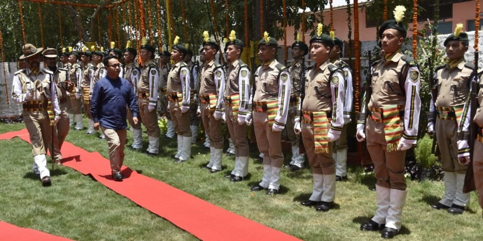 Sikkim chief minister P S Golay visits IRBn camp based at Wazirabad in Delhi