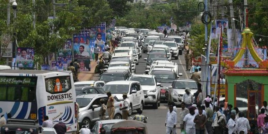 YSRCP supporters celebrate the swearing-in of Cabinet