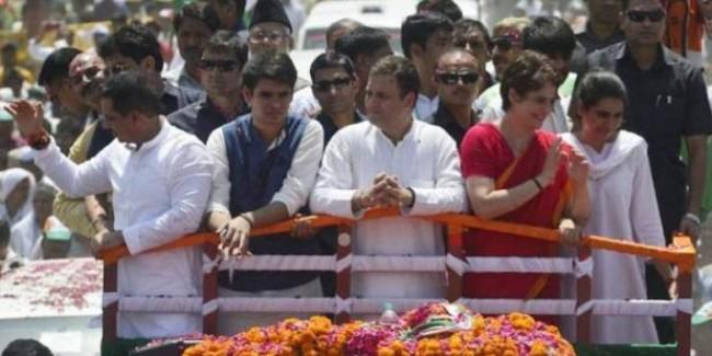 अमेठी: राहुल के रोड शो में दिखी गांधी परिवार की ताकत, प्रियंका के बेटे-बेटी रहे आकर्षण