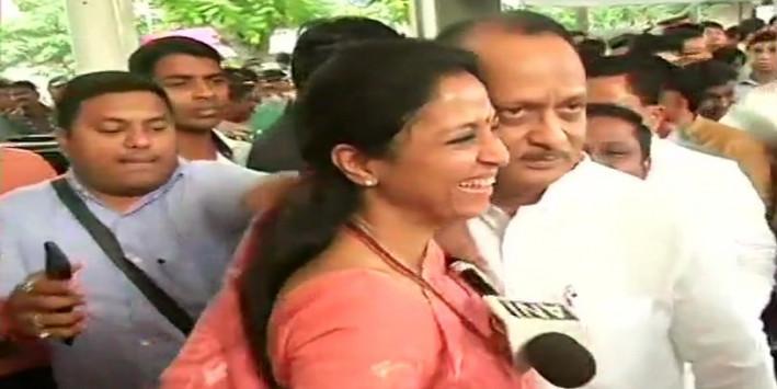 Supriya Sule Greets Ajit Pawar With a Warm Hug