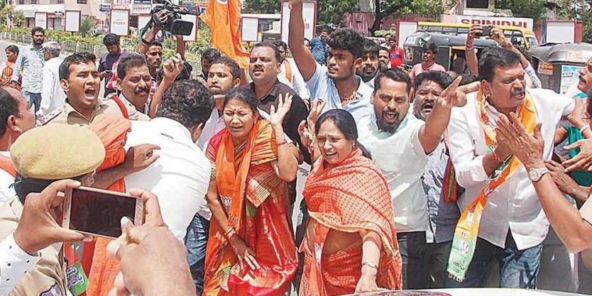 Protest almost turns fatal for BJP workers